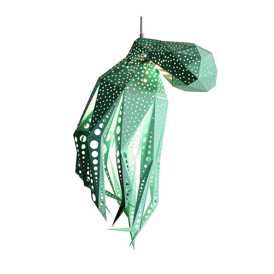 DIY green paper Octopus lantern on white background.