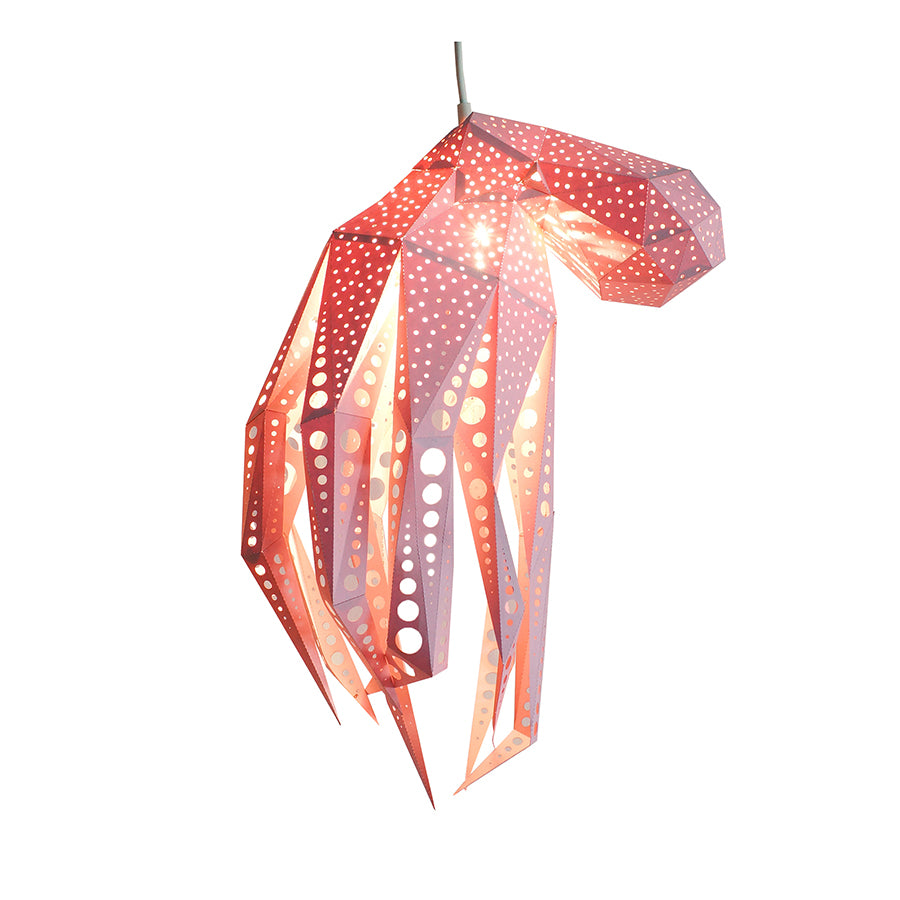 DIY pink papercraft Octopus lantern on white background.