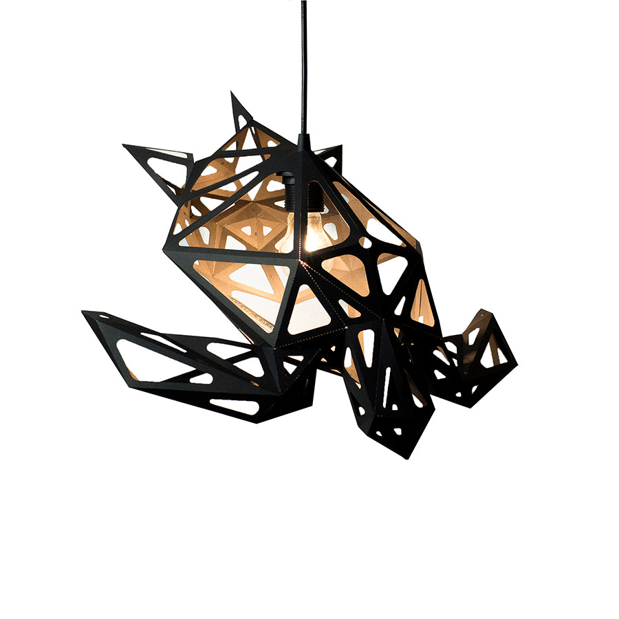 DIY pendant geometric lampshade in the form of Sea Turtle of black color on white background.