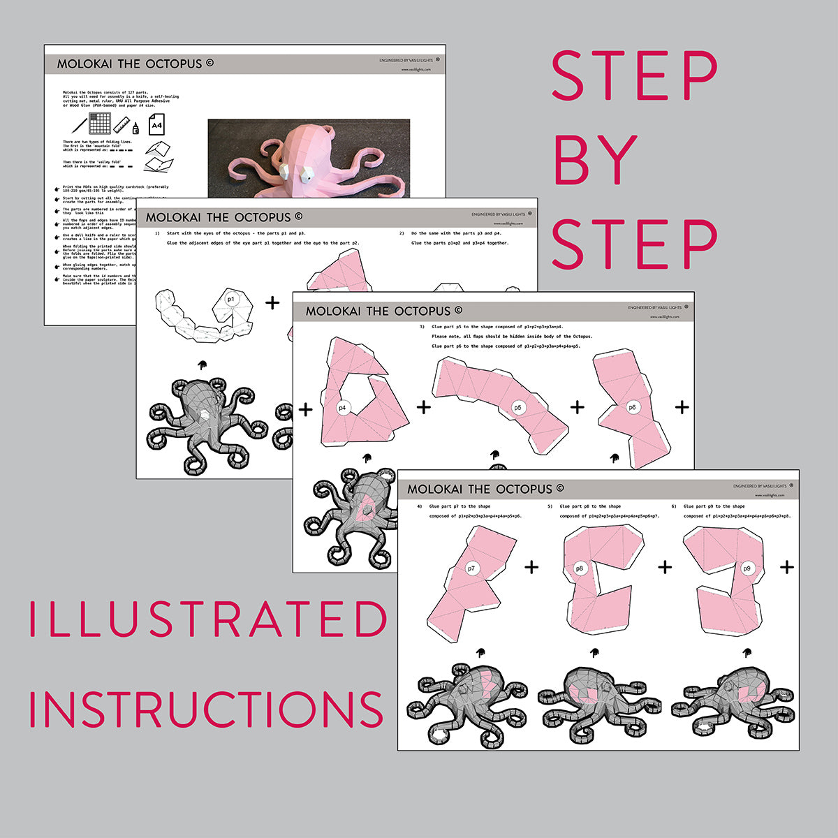 Assembly instruction for DIY papercraft Octopus.