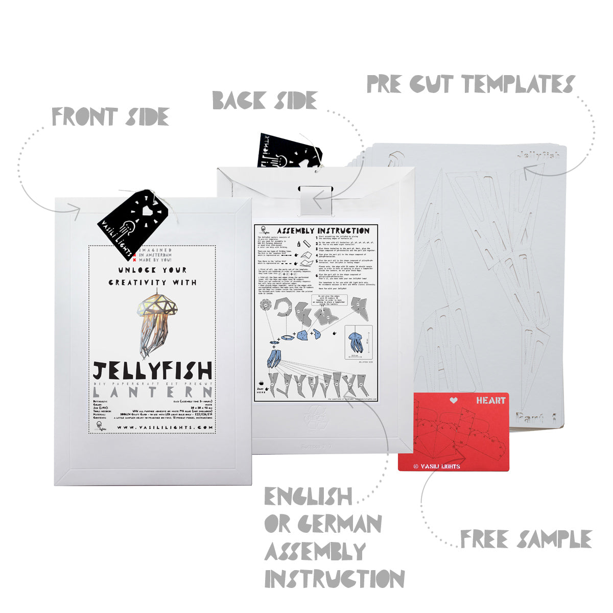 The envelope, pre-cut templates, and assembly instruction for DIY papercraft Jellyfish lampshade.