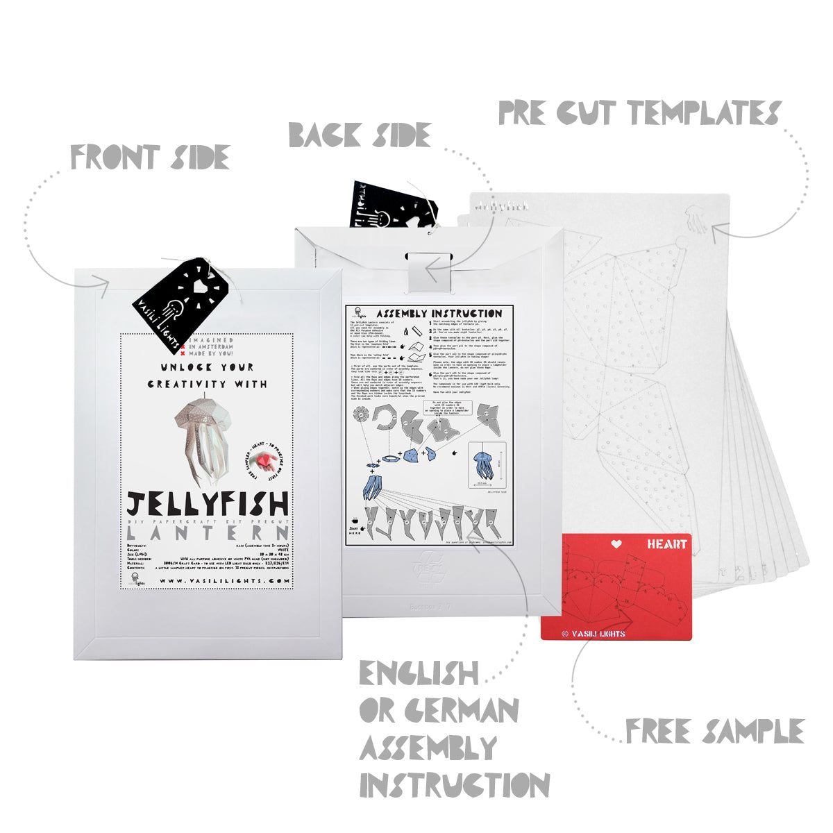 The envelope, pre-cut templates, and assembly instruction for DIY papercraft Jellyfish lantern.