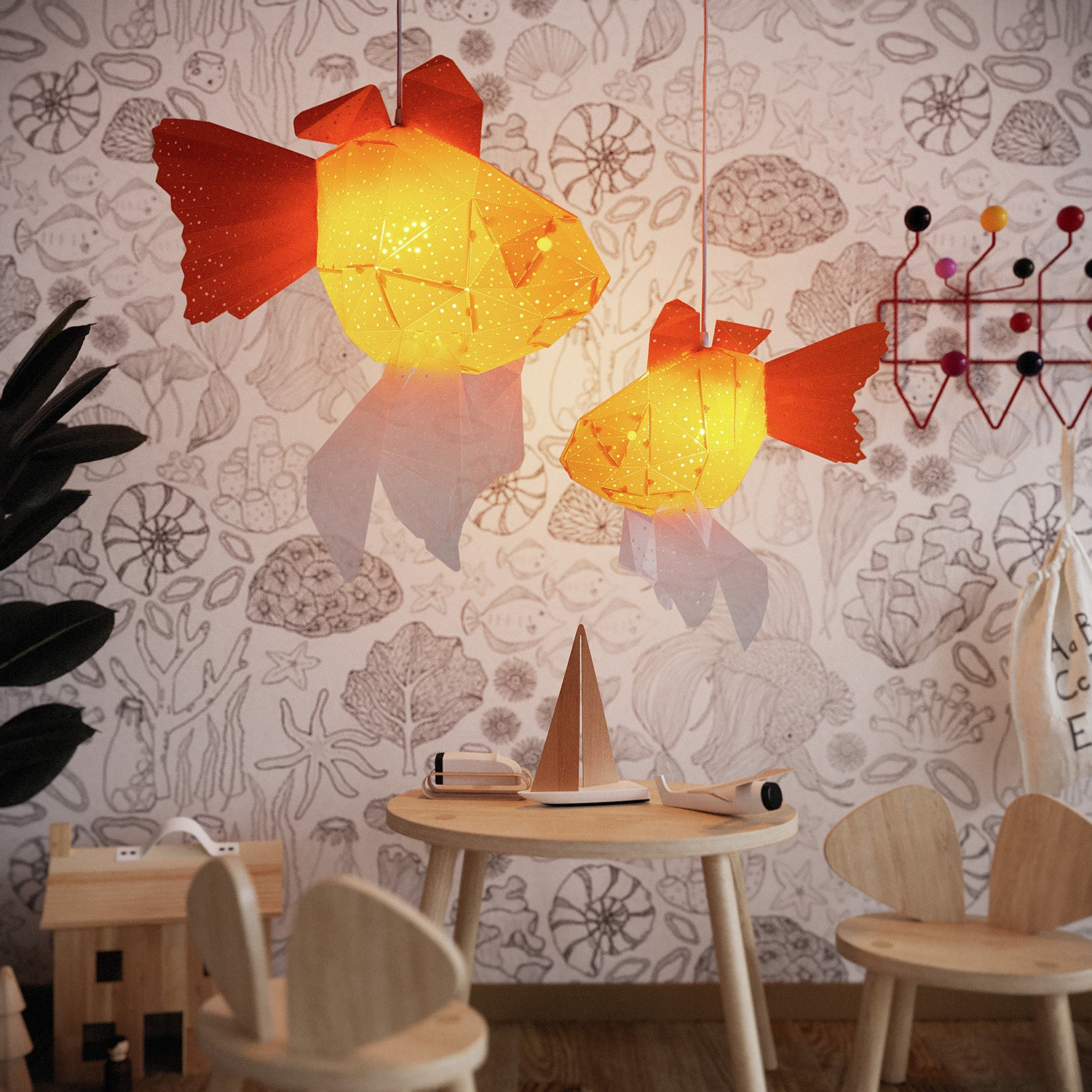 Mommy and Baby Goldfish Chandelier