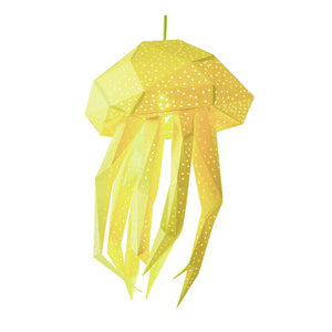 DIY yellow papercraft Jellyfish lantern on white background.