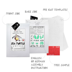 The envelope, pre-cut templates, and assembly instruction for DIY papercraft Sea Turtle lantern.