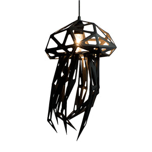 DIY pendant geometric Jellyfish lampshade of black color on white background.