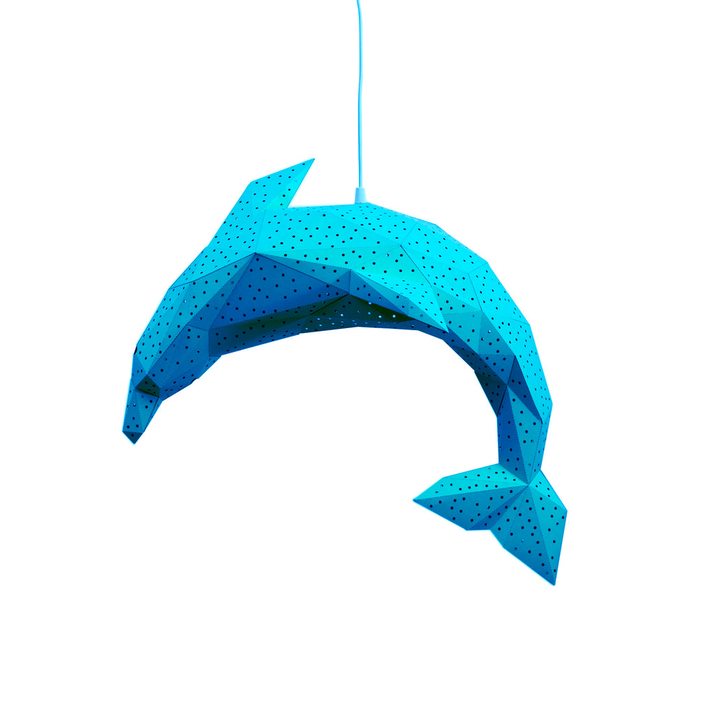 Papercraft blue Dolphin lantern on white background.