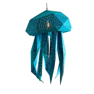 DIY blue papercraft Jellyfish lantern on white background.