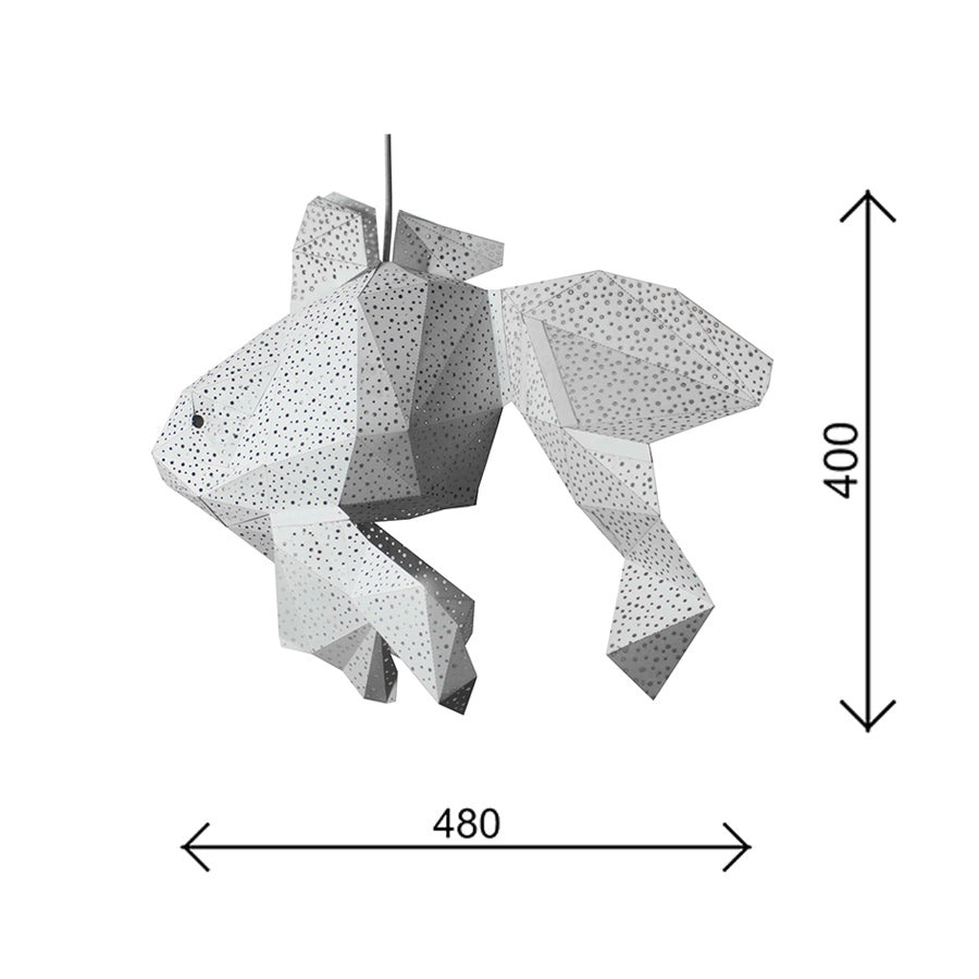 The dimensions of the papercraft Fish lantern.