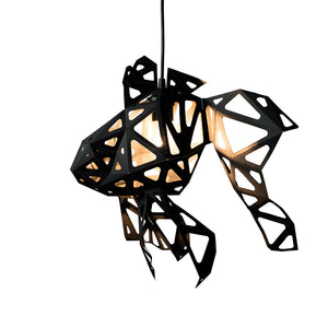 DIY pendant geometric lampshade in the form of Fish of black color on white background.