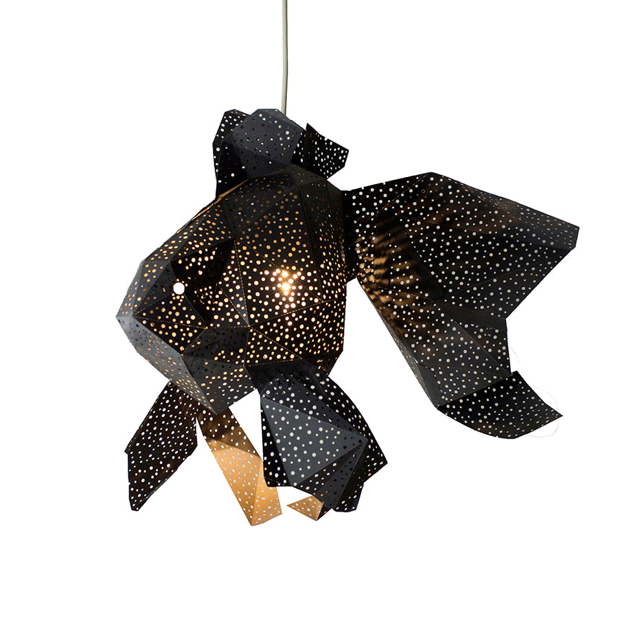 DIY black paper Fish lantern on white background.