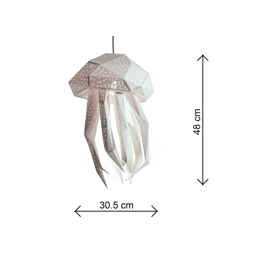 The dimensions of paper jellyfish lantern.