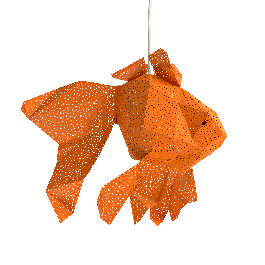 DIY orange papercraft Fish lantern on white background.