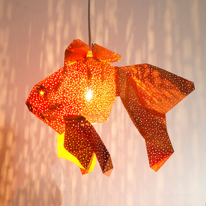 DIY orange paper Fish lantern on white background.