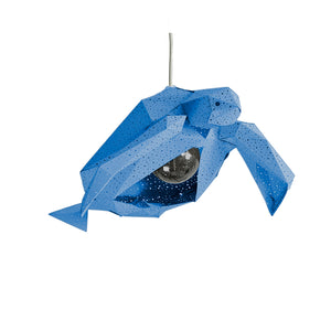 DIY blue paper Sea Turtle lantern on white background.