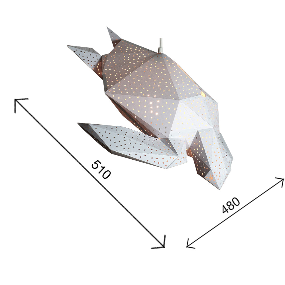 The dimensions of the paper Sea Turtle lantern.