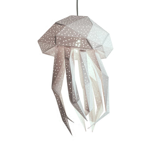 DIY white papercraft Jellyfish lantern on white background.