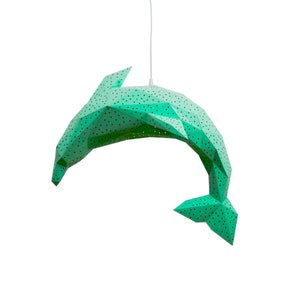 Papercraft green Dolphin lantern on white background.