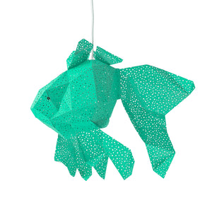 DIY green paper Fish lantern on white background.