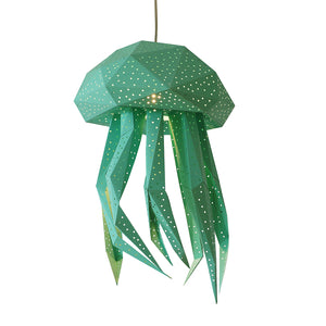 DIY mint papercraft Jellyfish lantern on white background.