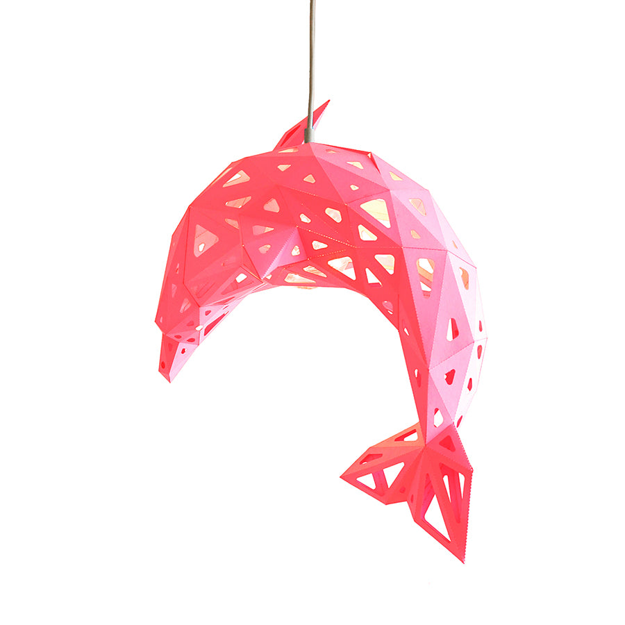 Pink DIY pendant paper Dolphin lampshade on white background.
