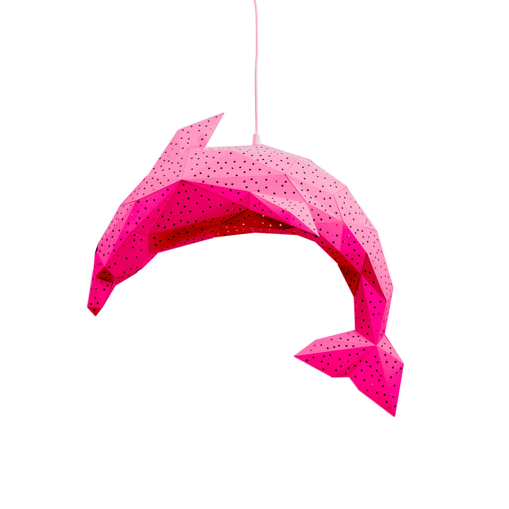 Papercraft pink Dolphin lantern on white background.