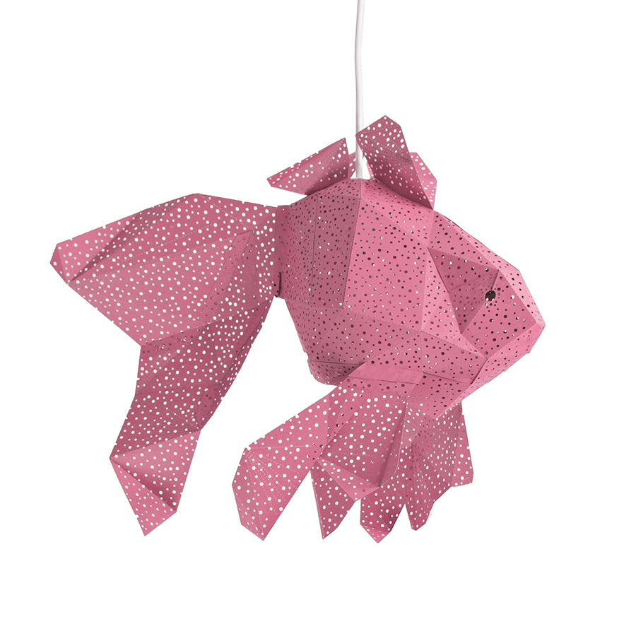 DIY pink papercraft Fish lantern on white background.