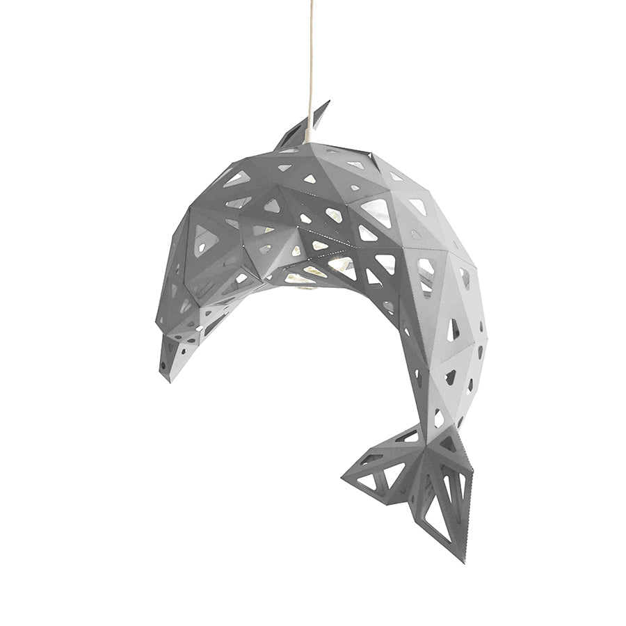 DIY pendant white paper Dolphin lampshade on white background.
