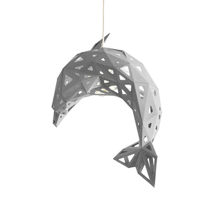DIY pendant paper Dolphin lampshade in the form of of white color on white background.