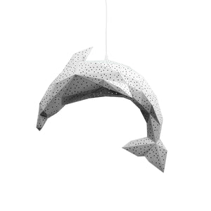Papercraft white Dolphin lantern on white background.