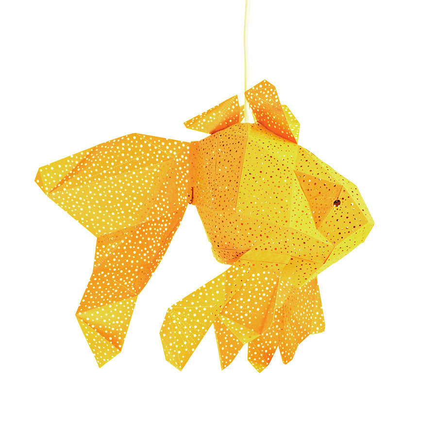 DIY yellow paper Fish lantern on white background.