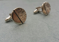 Circular Hammered Finishs Cuff Links *Earth Collection*