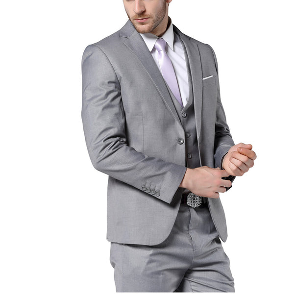 a1c87f28d81 2017 New Mens Fashion Suit Light Gray Slim Fit Wedding Suits For Men High  Quality Bussiness
