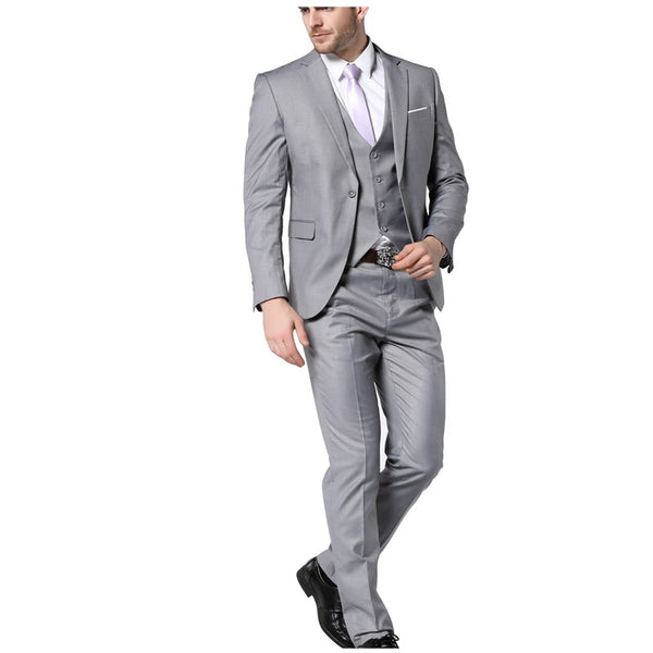 2017 New Mens Fashion Suit Light Gray Slim Fit Wedding Suits For Men ...