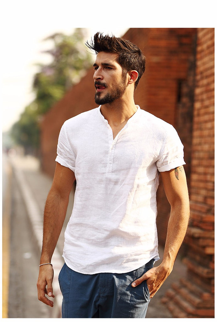 5d730b3ff14b 2018 New Arrival Summer Short-sleeved Shirts Men 100% Linen White Solid  Color