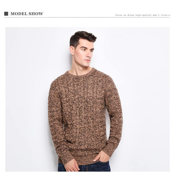 ef7ecae7b 2018 New Autumn Winter Fashion Men s Sweaters Warm Thick Slim Fit Men  Pullover 100% Cotton