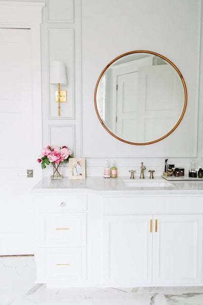 { white and gold powder room }: