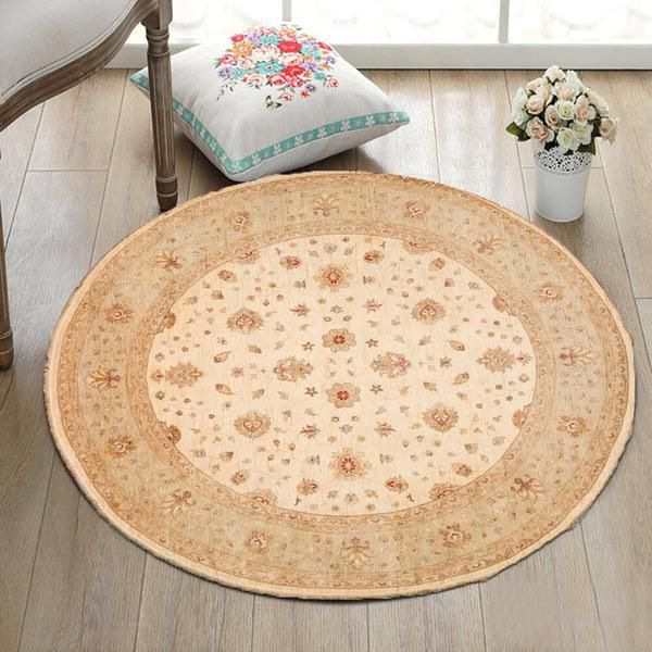 Position the round rugs on a curved detail of your home