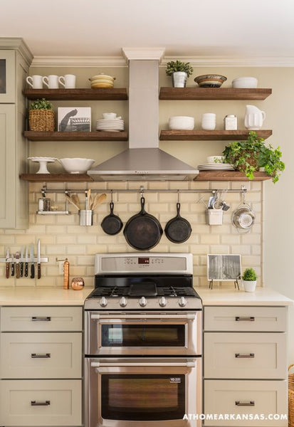 Little Rock Arkansas Home Makeover by Kathryn LeMasters | range hood incorporated into shelving wall: