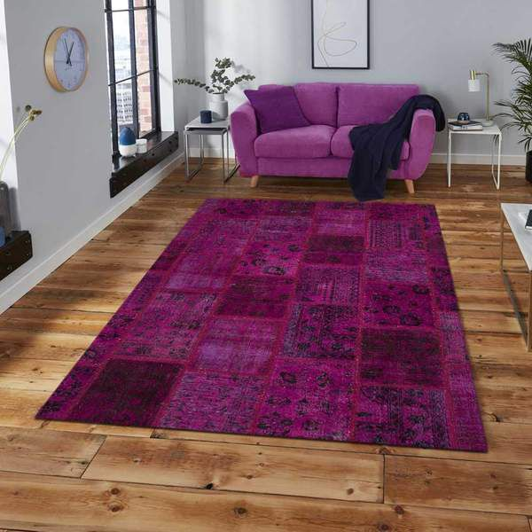 . Violet Overdyed Area Rug