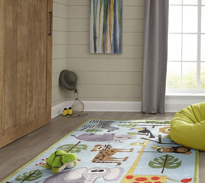 Multi-Color Jungle Safari Kids Area Rug
