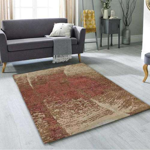 Brown wool and silk Area Rug