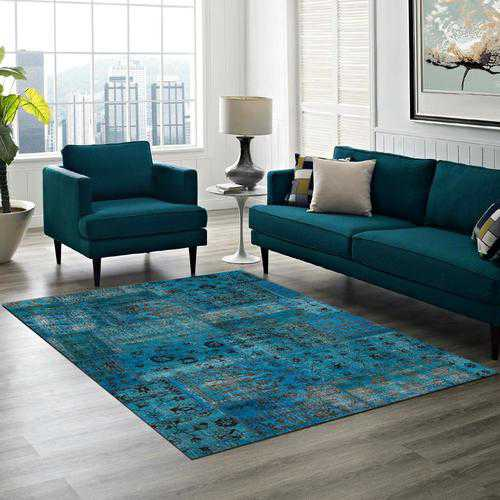 Teal Overdyed Area Rug