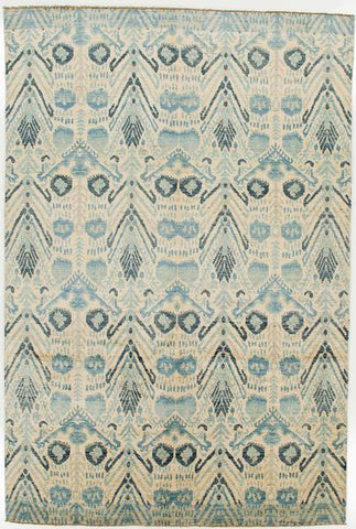 Blue and tan area oriental area rug