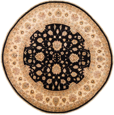 black circular rug from RugKnots.com