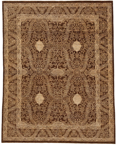 7.11 X 10u0027 Brown And White Modern Ziegler Rug Image