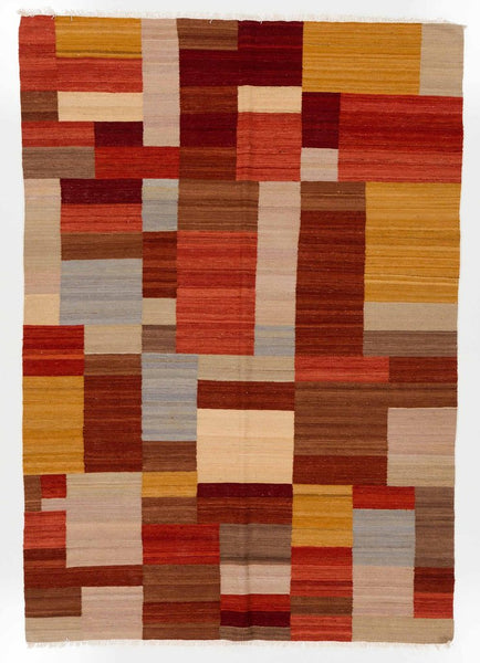 Multicolored Flatweave Kilim Dhurrie Rug; 100% Natural Wool ...