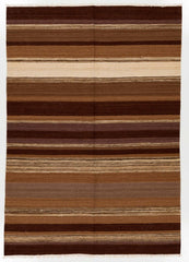 Flat weave rug color brown