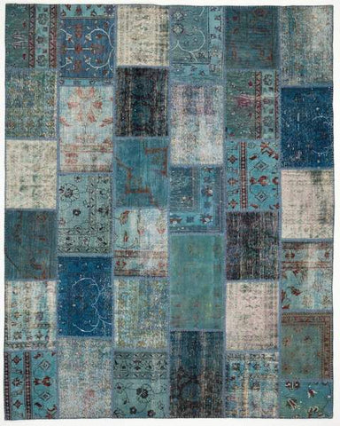 Blue Overdyed Patchwork Rug