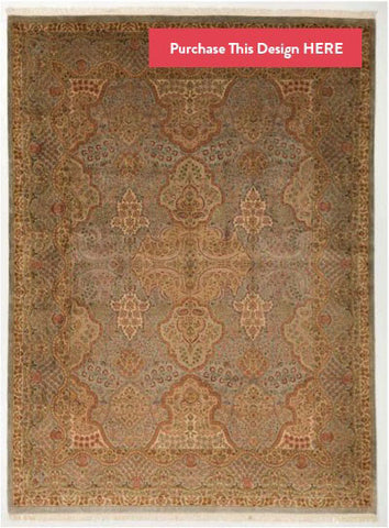 Gold and Green Pak Persian Rug Design